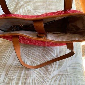 Michael Kors Bags - Michael Kors Red Monogram Tote Bag Purse Cloth MK